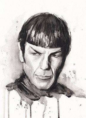 Black Portrait Painting - Star Trek Spock Portrait Sci-fi Art by Olga Shvartsur