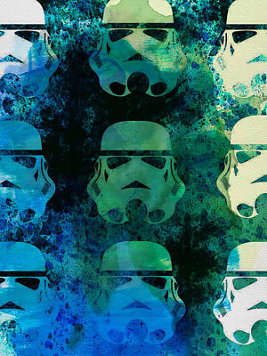 Star Warriors Watercolor 1 Print by Naxart Studio