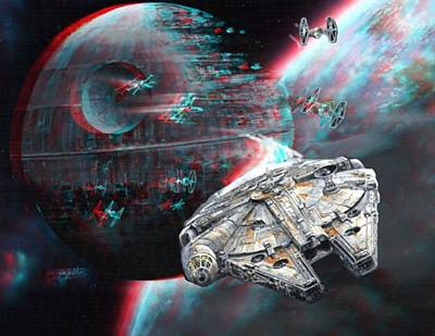 Star Wars 3d Millennium Falcon Print by Paul Van Scott