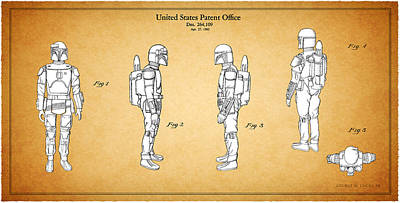 Star Wars - Boba Fett Patent Print by Mark Rogan