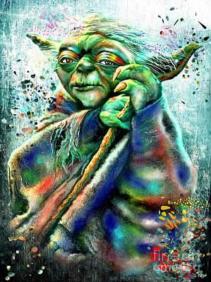 Aliens Painting - Star Wars Yoda by Daniel Janda