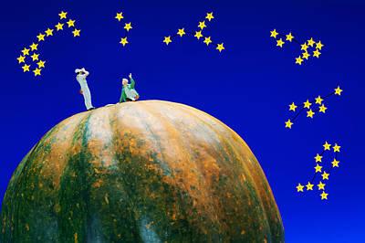 Constellation Digital Art - Star Watching On Pumpkin Food Physics by Paul Ge
