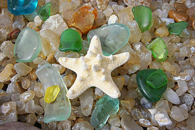 Seaglass Photograph - Starfish Fine Art Photography Seaglass Coastal Beach by Baslee Troutman