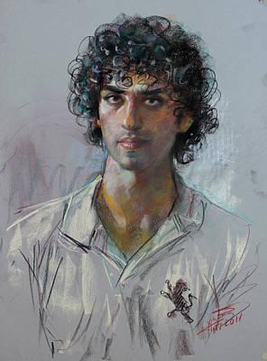 Pastel Portraits Pastel - Staring by Ylli Haruni