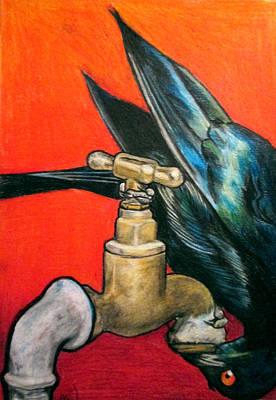 Starlings Drawing - Starling by Andrea Walton