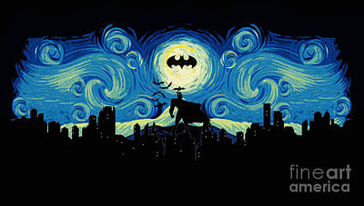 Christian Bale Digital Art - Starry Knight Gotham City by Koko Priyanto