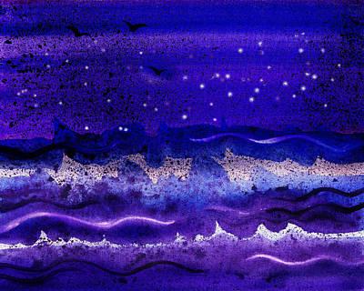 Blue Painting - Starry Night Abstract II by Irina Sztukowski