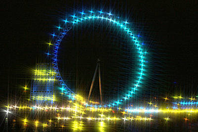 London Eye Mixed Media - Starry Night Along The River Thames Showing The Eye by Doc Braham