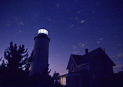 Starry Night At Sandy Neck Lighthouse Print by Charles Harden