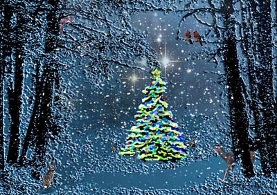 Fox Digital Art - Starry Night Forest Christmas by Michele  Avanti