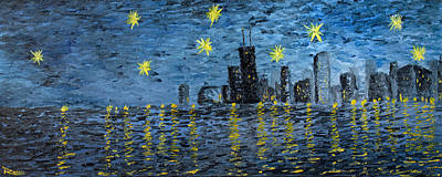 Batman Building Painting - Starry Night In Chicago by Rafay Zafer