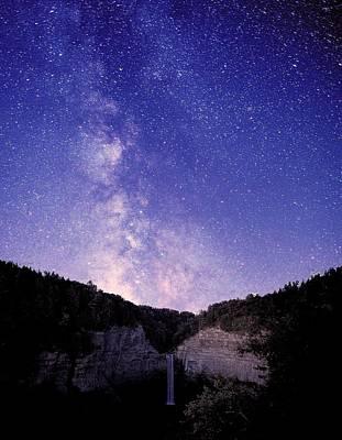 Milky Way Digital Art - Starry Night Of Taughannock Waterfalls by Paul Ge