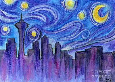 Seattle Skyline Mixed Media - Starry Night Over Seattle by Roz Abellera Art
