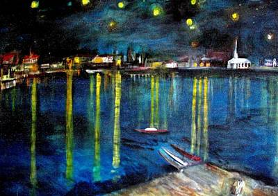 Starry Night Over The Rhone River Print by Rick Todaro