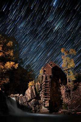 Starry Night Star Trails At The Crystal River Mill Print by Mike Berenson