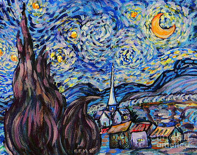 Rooftops Painting - Starry Night Tribute by Emily Michaud