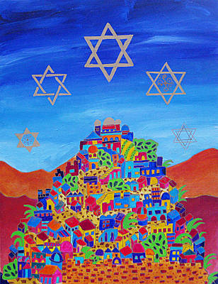 Purim Painting - Stars Above Jerusalem by Dawnstarstudios