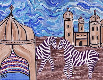 Zebra In Painting - Stars And Stripes by Barbara St Jean