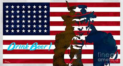 Usa Flag Painting - Stars And Stripes  - Drink Beer by T Lang
