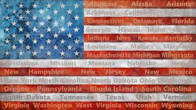 Stars And Stripes With States Print by Michelle Calkins