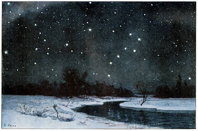 Snowy Night Photograph - Stars Over Snow Field by Cci Archives