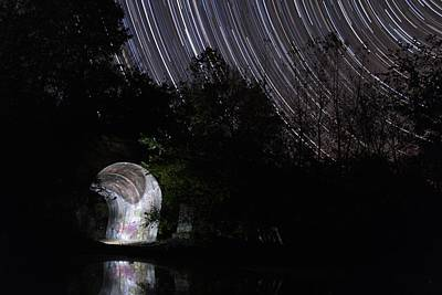 Startrails Digital Art - Stars Over The Tunnel by Shae Cohan