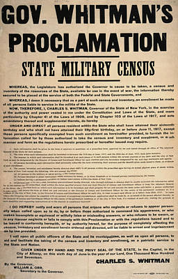 Proclamation Painting - State Military Census, 1917 by Granger