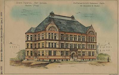 Hartwell Painting - State Normal Art School Boston Ma 1889 by Hartwell and Richardson