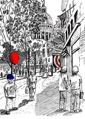 Capitol Building Drawing - State Street Market by Marilyn Smith