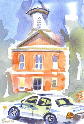 Cloudy Day Painting - Stately Courthouse With Police Car by Kip DeVore