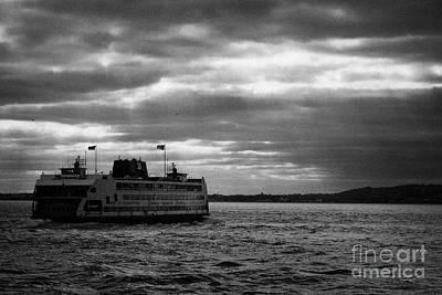 staten island ferry Andrew J Barberi heading towards staten island Print by Joe Fox