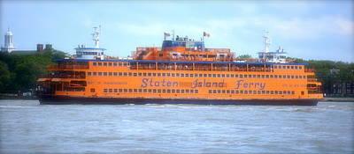 Staten Island Ferry In New York Harbor Print by Michael Dagostino