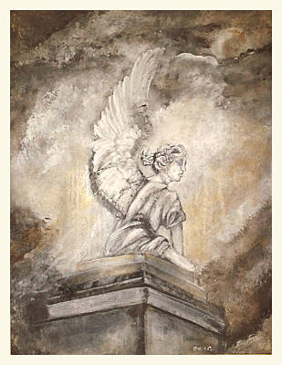 Angel Painting - Statue Of An Angel by Christie Clunan