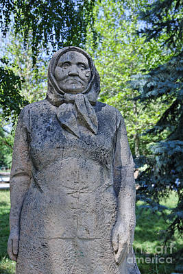 Babushka Photograph - Statue Of An Old Woman In Dubovy Park In Bishkek Kyrgyzstan by Robert Preston