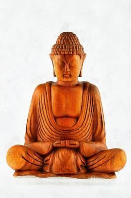 Devotional Painting - Statue Of Buddha by George Atsametakis