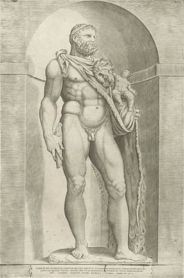 Bo Drawing - Statue Of Emperor Commodus As Hercules, Jacob Bos by Jacob Bos And Antonio Lafreri