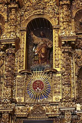 Retablo Photograph - Statue Of Jesus On Altarpiece by James Brunker