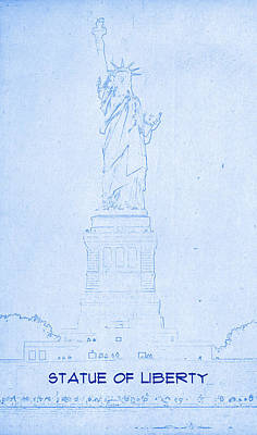 Statue Of Liberty Mixed Media - Statue Of Liberty - Blueprint Drawing by MotionAge Designs