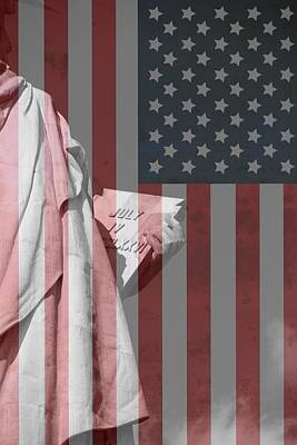 Statue Of Liberty And American Flag Print by Dan Sproul