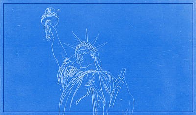 Statue Of Liberty Blueprint Print by Celestial Images