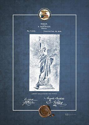 Liberte Digital Art - Statue Of Liberty By A. Bartholdi - Vintage Patent Blueprint by Serge Averbukh