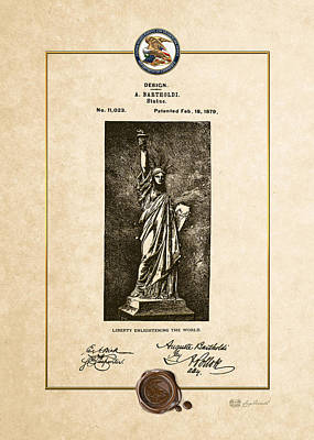 Liberte Digital Art - Statue Of Liberty By A. Bartholdi - Vintage Patent Document by Serge Averbukh