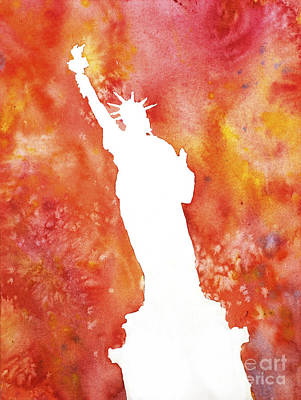 Statue Of Liberty Fiery Silhouette Print by Ryan Fox