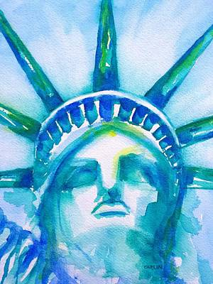Americas Freedom Icon Painting - Statue Of Liberty Head Abstract by Carlin Blahnik