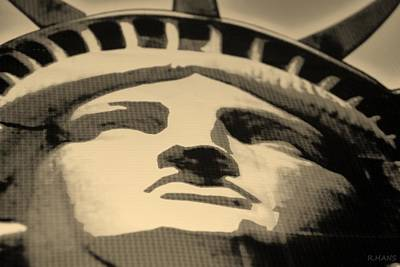 Statue Of Liberty In Sepia Print by Rob Hans