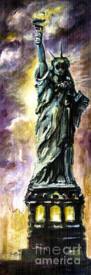 July 4th Painting - Statue Of Liberty Part 4 by Ginette Callaway