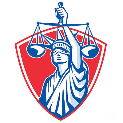 Statue Of Liberty Raising Justice Weighing Scales Retro Print by Aloysius Patrimonio