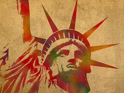 Statue Of Liberty Watercolor Portrait No 2 Print by Design Turnpike