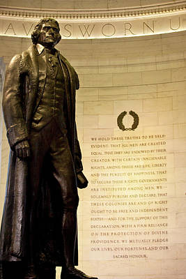 Thomas Jefferson Photograph - Statue Of Thomas Jefferson With Quote by Brian Jannsen