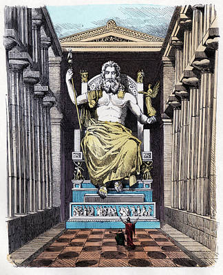 Statue Of Zeus At Olympia Print by Cci Archives
